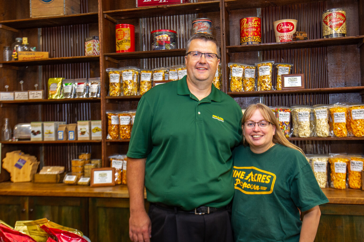 Pine Acres popcorn grand opening; picture of owners Ed and Christine Grochowski